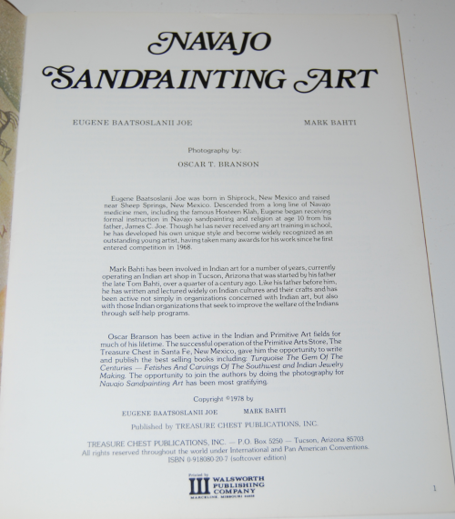 Navajo sandpainting art book 1