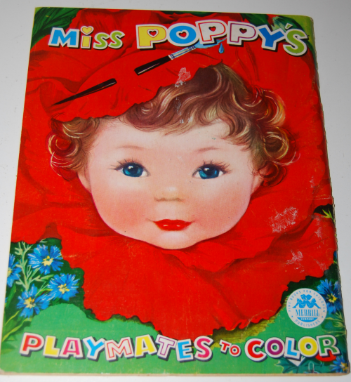 1960 merrill coloring book miss poppy's playmates