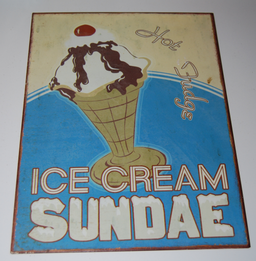 Ice cream tin sign