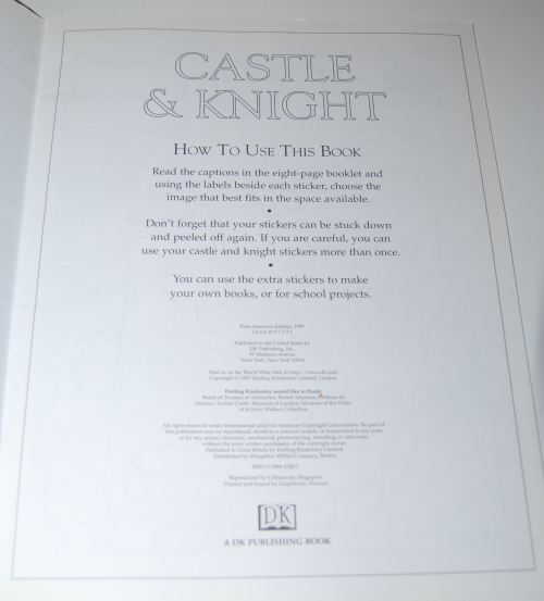 Castle & knight sticker book 1