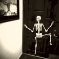 is he dancing because halloween is on the way? (or is he peeing?) <br>hard to tell..