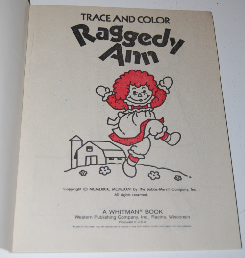 Raggedy ann trace & color 1