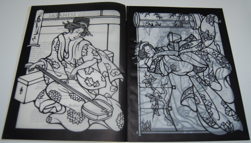 Dover japanese geishas stained glass coloring book 2