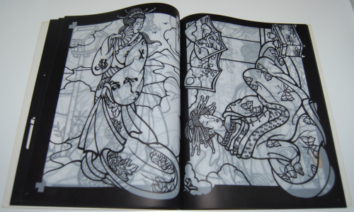 Dover japanese geishas stained glass coloring book 3