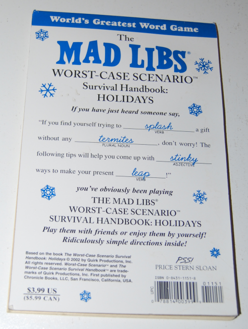 Madlibs worst case scenario holiday survival x