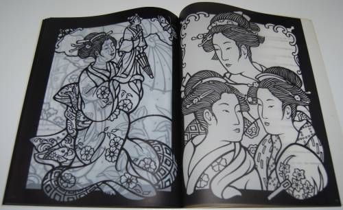 Dover japanese geishas stained glass coloring book 6