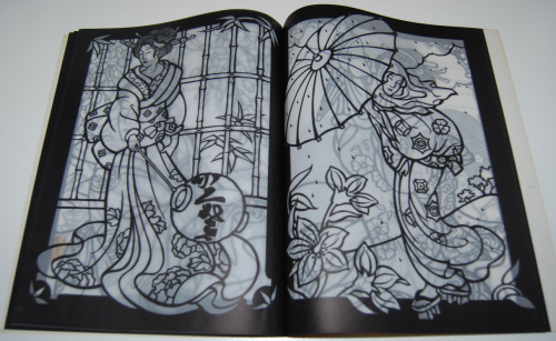 Dover japanese geishas stained glass coloring book 5