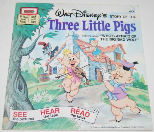 Disney book & cassette 3 little pigs