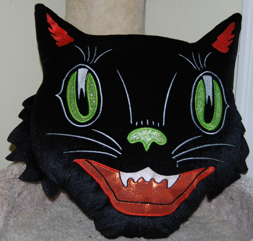 Tricks treats black cat pillow x