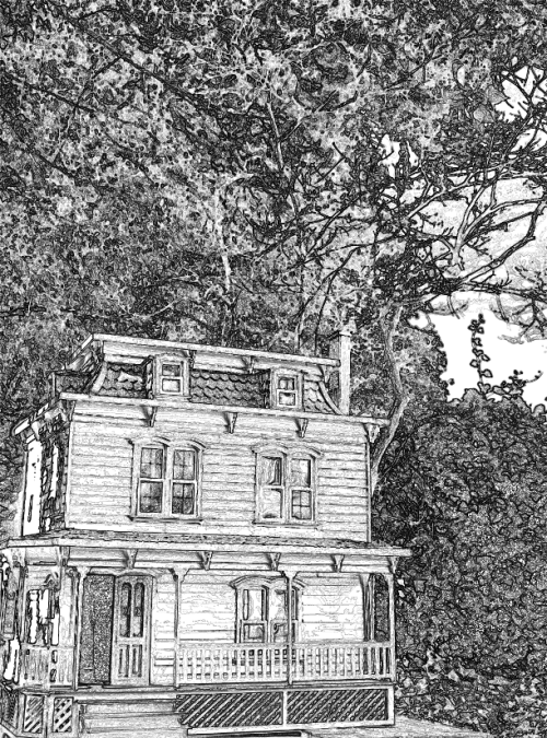 Sunset house coloring page x