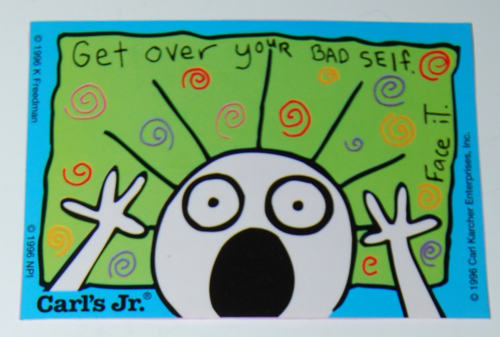 1996 carl's jr kids sticker