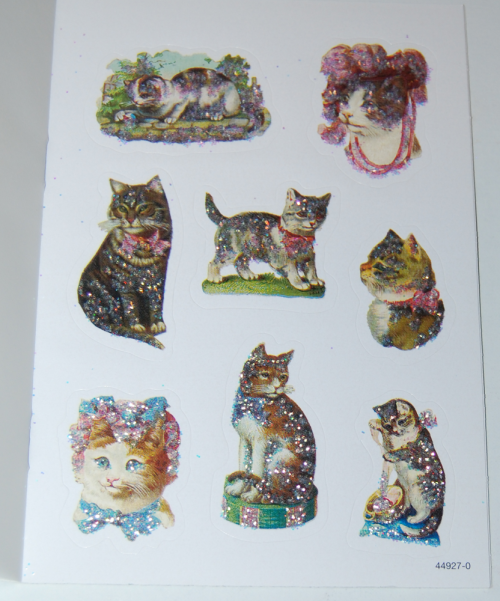Old time cats & kittens glitter stickers book xx