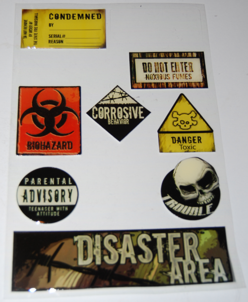 Toxic waste stickers