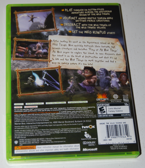 Where the wild things are xbox videogame