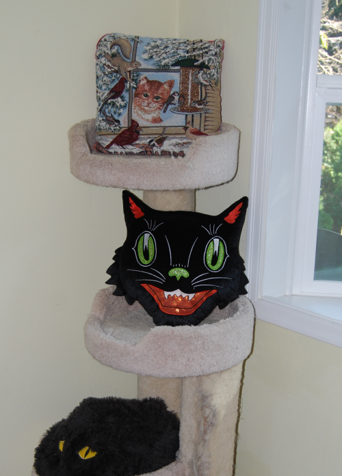 Tricks treats black cat pillow