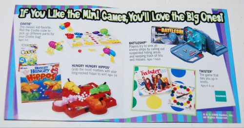 Jack in the box kids meal toy hasbro mini games