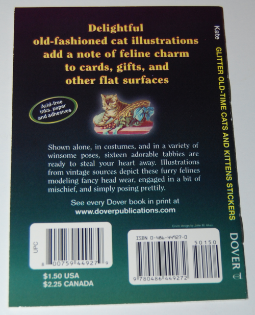Old time cats & kittens glitter stickers book x
