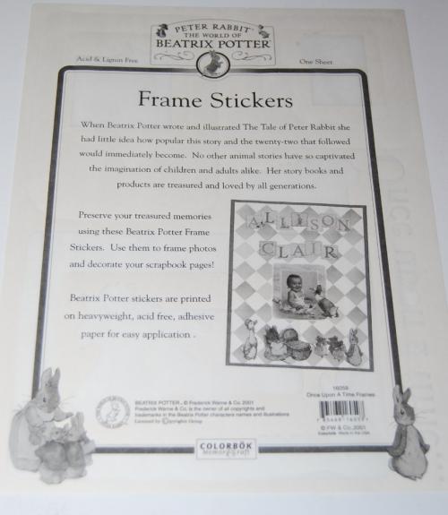 Beatrix potter stickers xx
