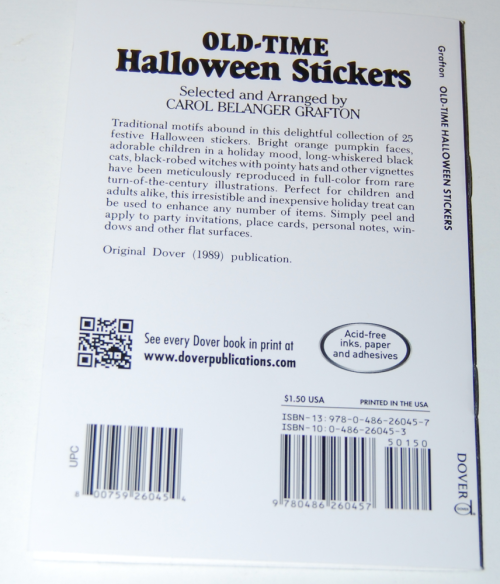 Old time halloween stickers book x
