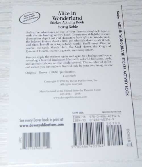 Alice in wonderland dover mini activity book x